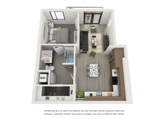 4th and J San Diego, CA A6 Floor Plan 666 SF