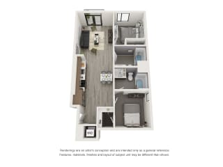 4th and J San Diego, Ca B1 Floor Plan 954 SF