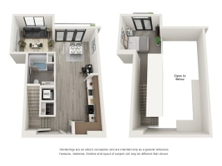 4th and J San Diego, CA S9 Combined Floor Plan 845 SF