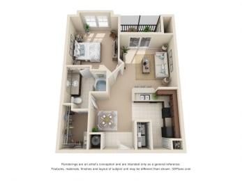 Floor Plan Chelsea - 1 Bedroom, 1 Bath