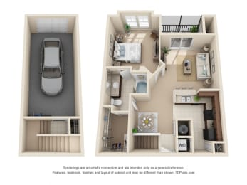 Floor Plan Chelsea - 1 Bedroom, 1 Bath, Garage