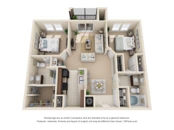 Floor Plan Hudson - 2 Bedroom, 2 Bath
