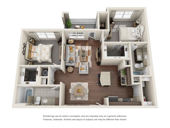 Floor Plan  Two Bedroom | Two Bathroom | Rosehill Floor Plan at The Gentry at Hurstbourne, Louisville, KY, 40222