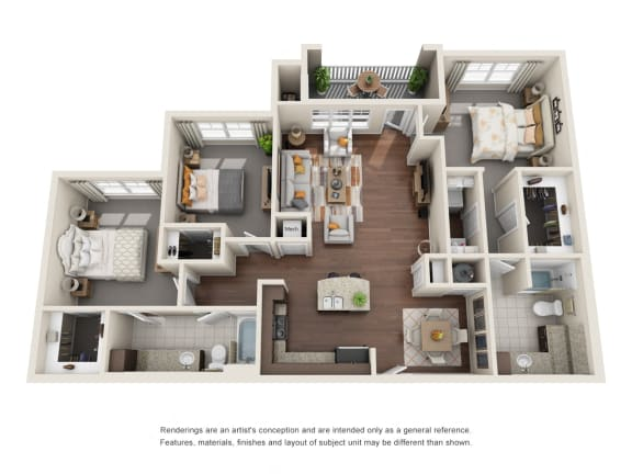Floor Plan  Two Bedroom | Two Bathroom | Sonoma Floor Plan at The Gentry at Hurstbourne, Louisville, 40222