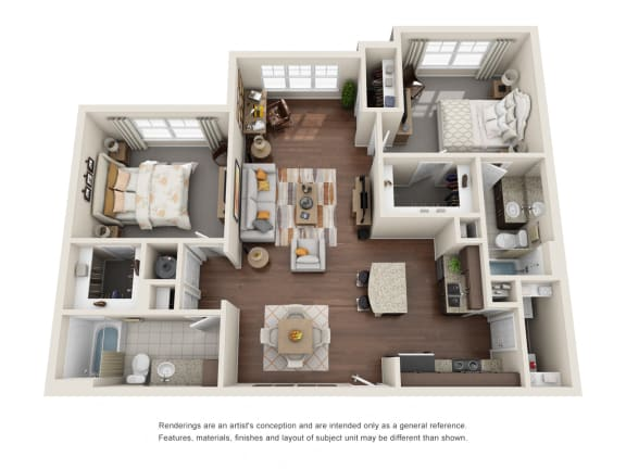 Floor Plan  Two Bedroom   Two Bathroom   Springhill Floor Plan at The Gentry at Hurstbourne, Louisville, KY