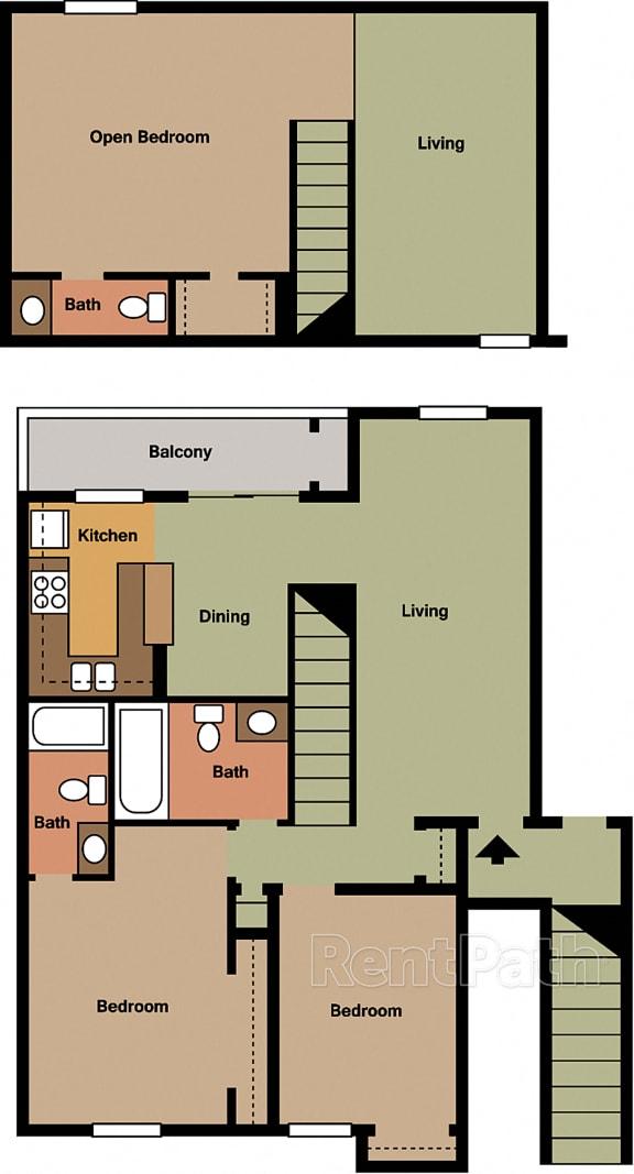 3 Bedroom Loft Floor Plan at Lake Marina Apartments, Indianapolis