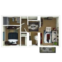 One bedroom, one bathroom Venice floor plan image