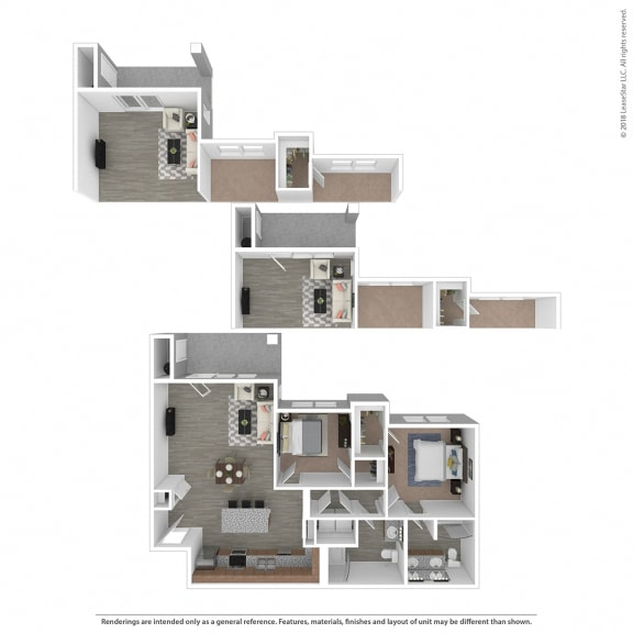 Floor Plan  B4 Two Bedroom Two Bathroom at Edgewater at the Cove, Oregon City, OR
