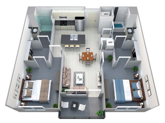 Floor Plan  Overland 2 Bedroom 2 Bath Floorplan at Cycle Apartments, Colorado, 80525