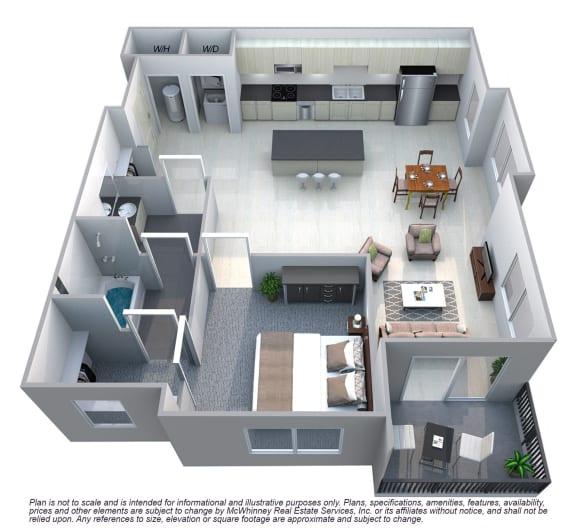 Floor Plan  Drake 1 Bedroom 1 Bath Floorplan at Cycle Apartments, Ft. Collins,Colorado