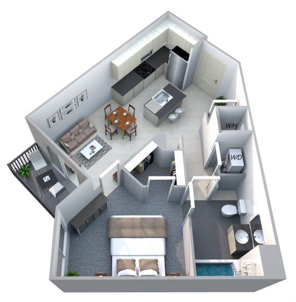 Floor Plan  Harmony 1 Bedroom 1 Bath Floorplan at Cycle Apartments, Ft. Collins, CO
