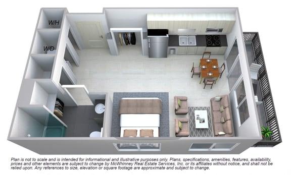 Floor Plan  Grant - Studio Floor plan at Cycle Apartments, Coloradoq