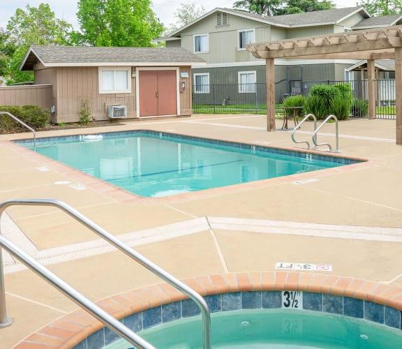 Sparkling Pool and Sauna at Aspen Park Apartments in Sacramento, CA 95823