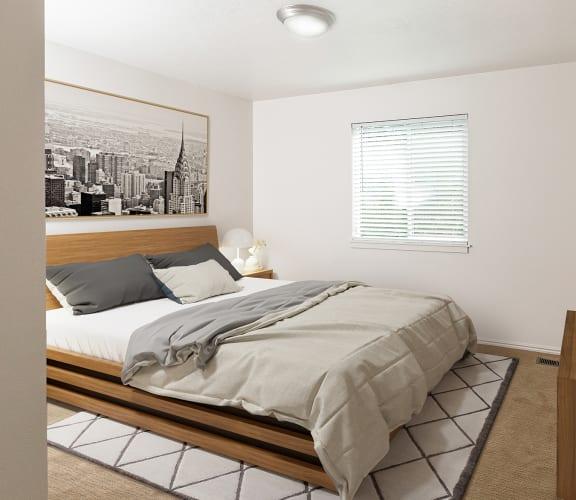 spacious master bedroom at Devonshire Court Apartments in Logan, UT 84341
