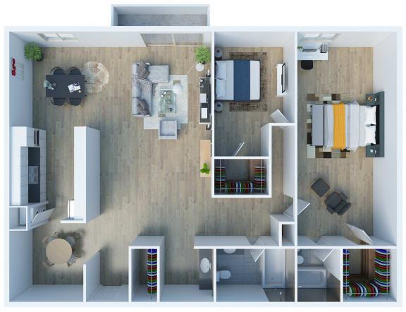 Floor Plan  Floorplan B1 at The Fulton Sherman Oaks Apartments at 4629 Fulton Avenue, Sherman Oaks, CA 91423