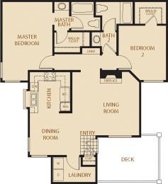 Eucalyptus - 2 Bedroom 2 Bath Floor Plan Layout - 1115 Square Feet