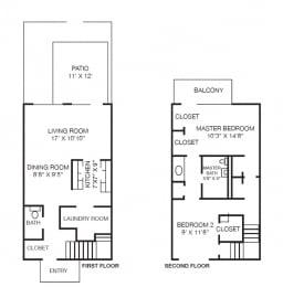 2 Bed 1.5 Bath Floorplan at Westpark Townhomes