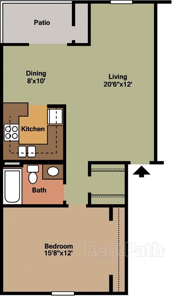 1 Bedroom Garden Floor Plan at Lake Marina Apartments, Indianapolis, IN
