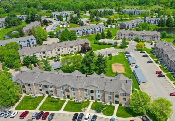 Aerial View of Community at Green Ridge Apartments, Grand Rapids