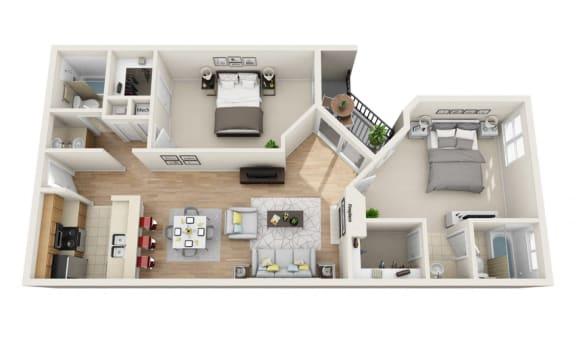 Floor Plan  2Beds 2Baths Pavillion L Floor Plan at La Vista Terrace, California