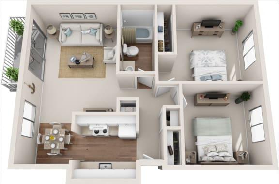Floor Plan  Cottage 2B/1B 3D Floor Plan