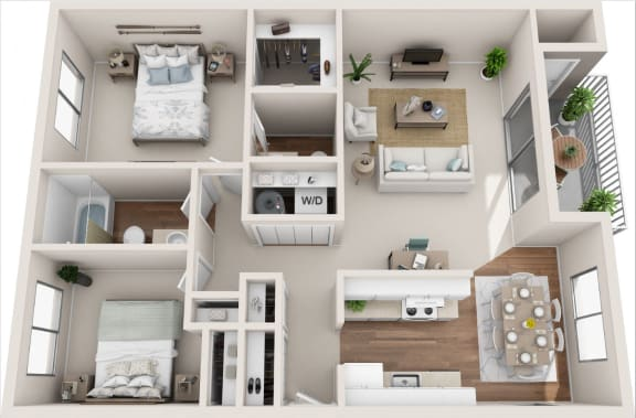 Floor Plan  Cottage 2B/1.5B 3D Floor Plan
