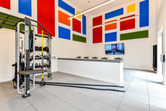 Fitness studio free weight training area at 15Seventy, Chesterfield, MO 63017
