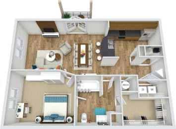 A1 1 Bedroom 1 Bath 3D Floor Plan at Rose Heights Apartments, Raleigh, 27613