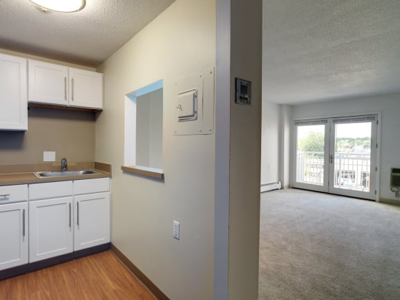 One bedroom senior apartments at Jaclen Tower in Beverly, MA