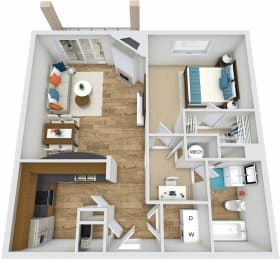 A2 1 Bedroom 1 Bath 3D Floor Plan at Rose Heights Apartments, Raleigh
