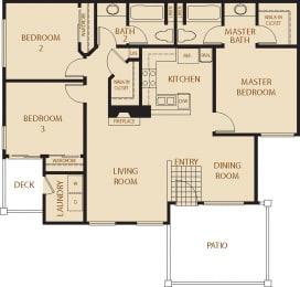 Sycamore - 3 Bedroom 2 Bath Floor Plan Layout - 1237 Square Feet
