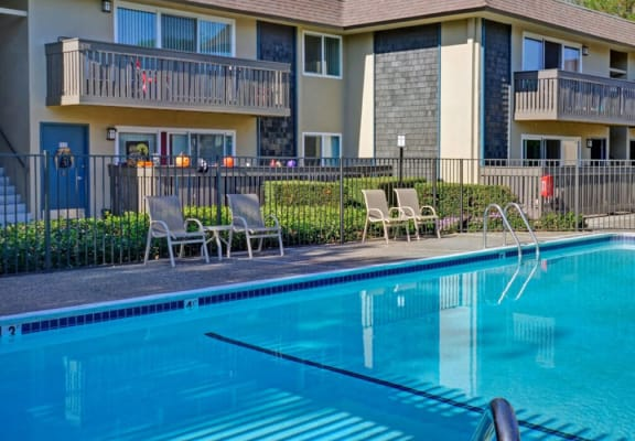 exterior shot of the pool at stock photo of a woman holding a coffee cup at Wyndover Apartment Homes in Novato, CA