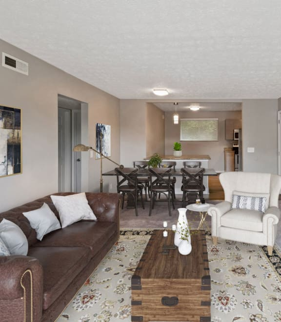 Classic Living Room Design With Television at Heritage Hill Estates Apartments, Cincinnati, OH, 45227