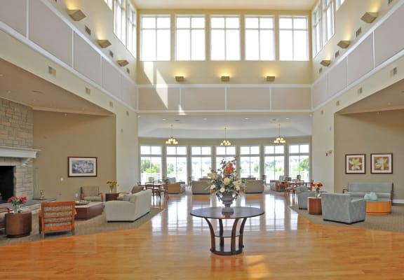 Magnificent Lobby Area at The Harbours Apartments, Clinton Twp, MI, 48038