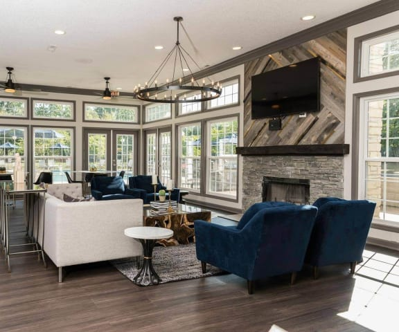 Clubhouse with Large Screen Television & Kitchen at Fairlane Woods Apartments, Dearborn