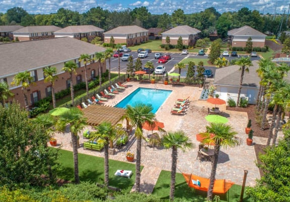 aerial of pool and outside amenity deck