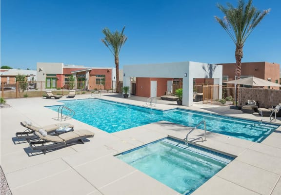 Pool and pool patio at Casitas at San Marcos Apartments in Chandler AZ