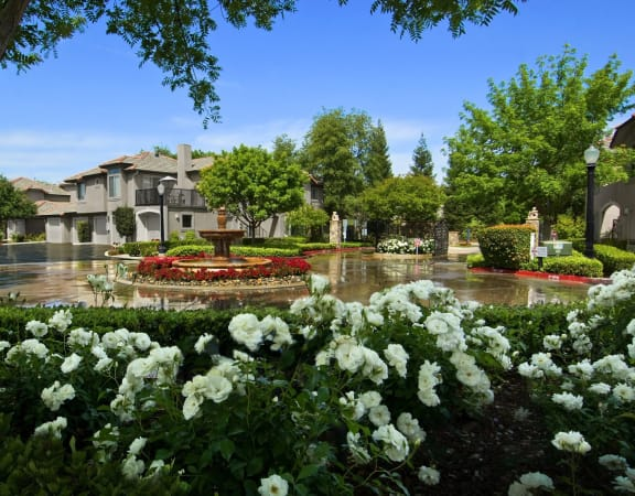 Shimmering courtyard with fountain, Le Provence at the Dominion, Fresno
