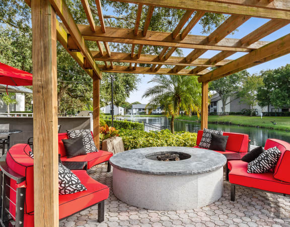 Fire Pit Lounge at Carrollwood Station Apartments
