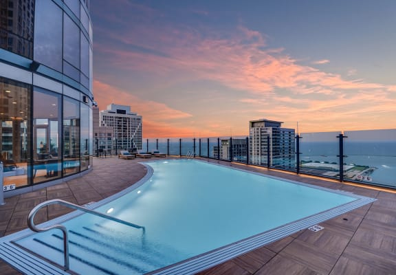 Rooftop pool at Moment, Chicago, IL