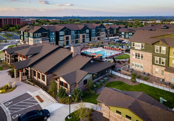 Aerial view of community at Windsor at Pinehurst, Lakewood, CO