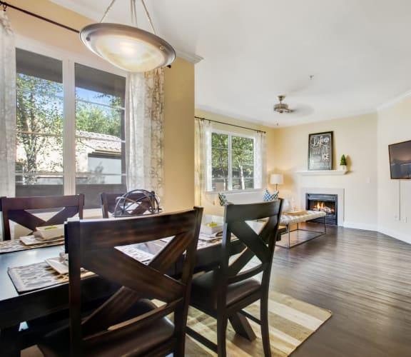 Model Living Room- Large Window and Wood Flooring