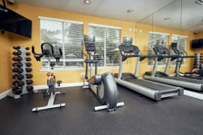 Escondido, CA Apartments for Rent - Alta Vista Fitness Center with exercise bike, treadmills, and ellipticals