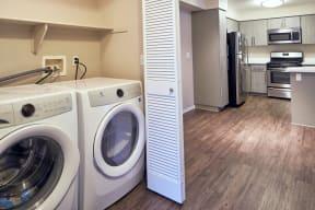 Washer/dryer closet and kitchen