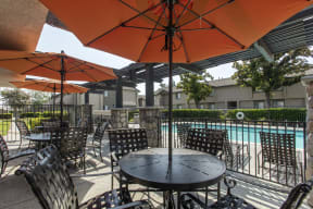 Seating area adjacent to pool