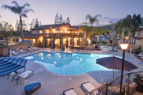 Thousand Oaks CA Apartments for Rent - The Knolls Sparkling Pool with Lounge Seating, Spa, and Many More Amazing Community Amenities