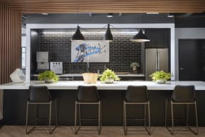 Community kitchen with stainless steel appliances