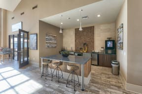 Complimentary coffee and tea bar at Windsor at Pinehurst Lakewood, CO