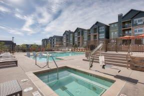 Pool and Jacuzzi at Windsor at Pinehurst Colorado, 80235