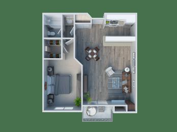 One Bedroom / One Bathroom Plan B